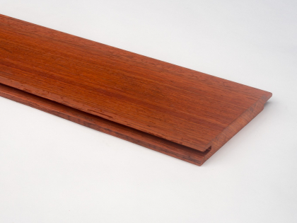 Padouk wall cladding - Tongue & groove cladding - 15 x 120 mm - Front view