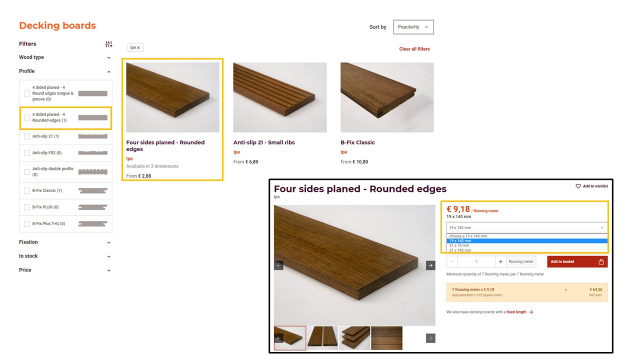Representation of the product range and how to change the dimensions english version
